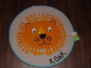 KIDS NON SLIP BACKING 80X80CM MATS/RUGS SCHOOLS/HOMES LION ROAR MATS NEW CIRCLE